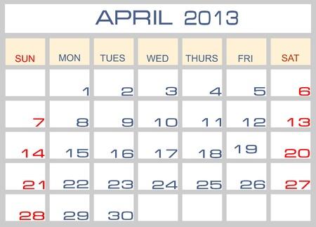 calendar April 2013 Stock Vector - 14200080