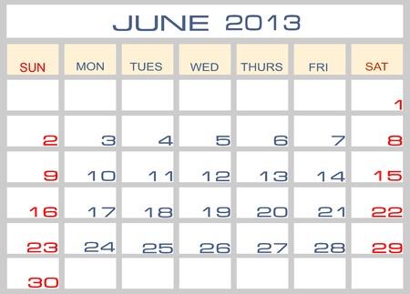 Calendar June 2013 Vector