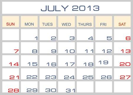 calendar July 2013 Stock Vector - 14200092