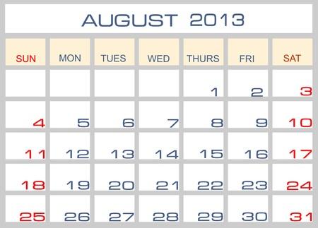 calendar August 2013 Stock Vector - 14205305