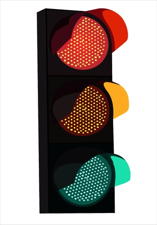 traffic lights with red, yellow and green lights on white background Stock Vector - 14205448