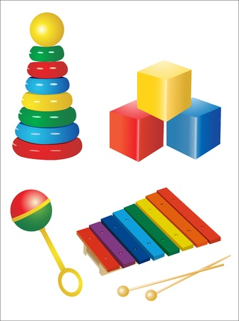 toyshop: set of icons of childrens toys