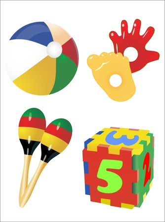 set of  icons of children s toys Vector