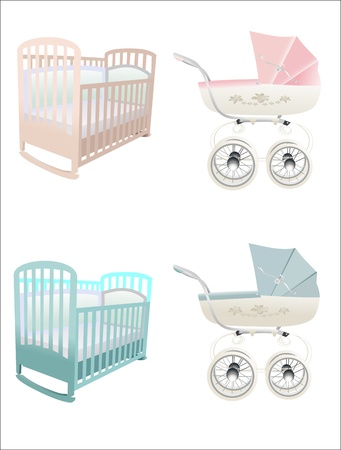 crib and stroller Vector