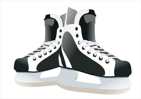 hockey skates: Pair of hockey skates isolated on white background