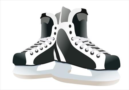 hockey rink: Un par de patines de hockey sobre fondo blanco