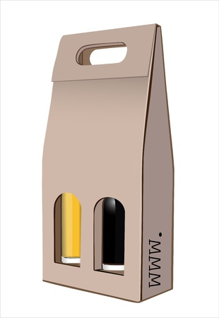 corrugated box: Corrugated cardboard gift wine bottles box Illustration