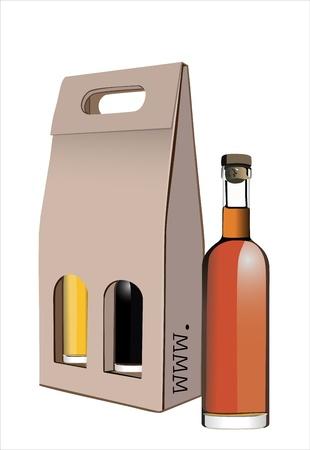 corrugated box: Corrugated cardboard gift wine bottles box Illustration