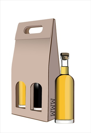 corrugated cardboard: Corrugated cardboard gift wine bottles box Illustration