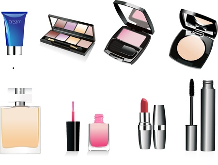 Decorative cosmetics and perfume  Isolated  Vector