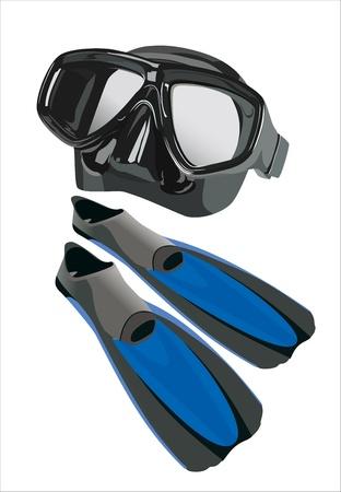 flippers: aletas y m�scara de buceo Vectores