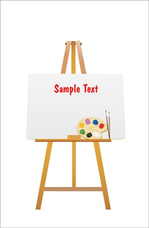illustration of an easel and brush with wooden art palette with paints isolated on a white background Stock Vector - 14205563