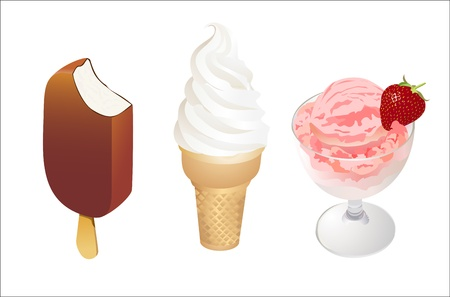 Set of tasty ice cream isolated on white background Illustration