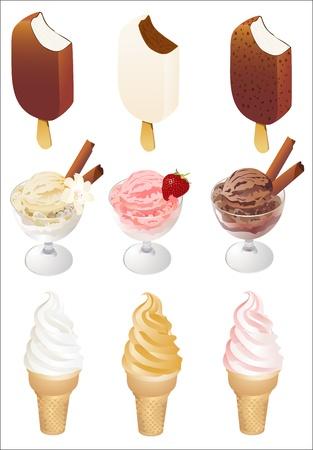 Set of tasty ice cream isolated on white background Illustration