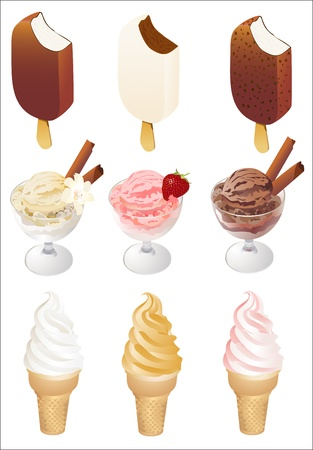 Set of tasty ice cream isolated on white background Vector