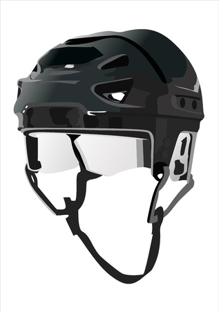 Hockey Helmet isolated on Black Background  Vector