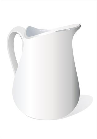 ceramic: Niza jarra blanca leche de cer�mica.