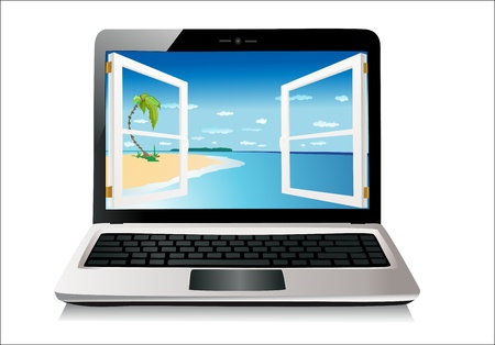 Laptop isolated on white Vector