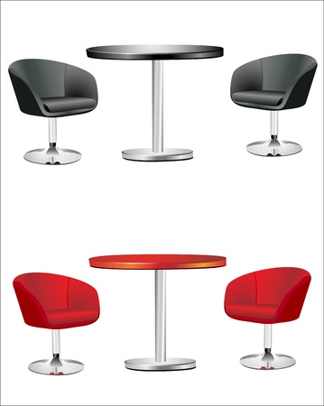 kitchen studio: modern chairs and table on the white background Illustration