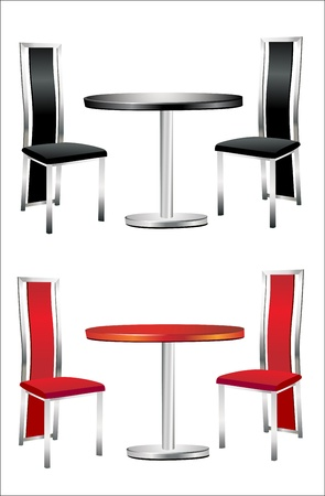 bar stool: Modern table with two chairs on white background.