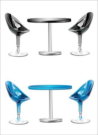 bar stool: Modern bar table with two chairs on white background Illustration