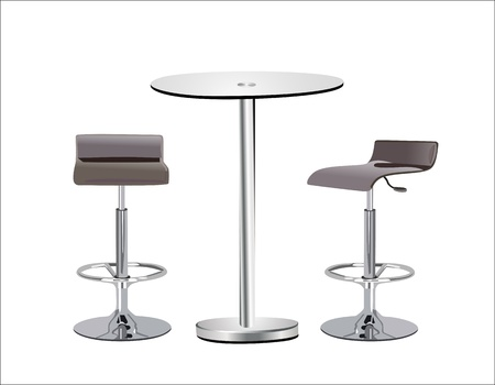 High Glass Top Table w Chairs on white background. Illustration