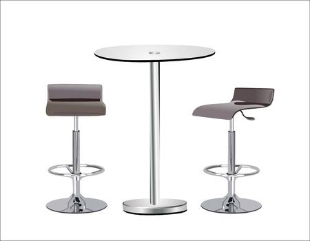 tabulka: Vysoká skleněná deska stolu w židle na bílém pozadí.