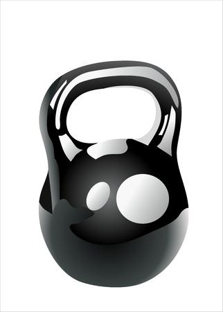 levantamiento de pesas: de hierro negro kettlebell para entrenamiento con pesas aislado en blanco Vectores