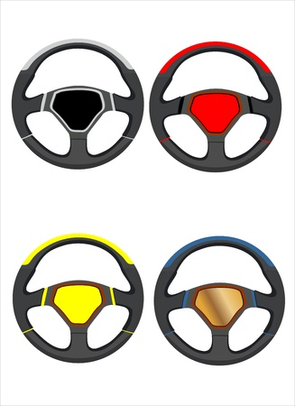 Car steering wheels set Vector