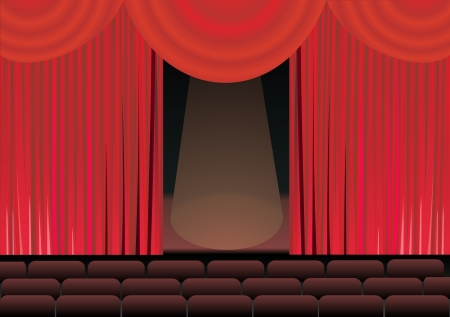 theater stage and red curtain Vector