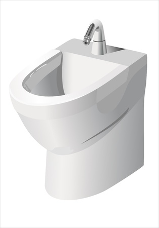 Square bidet design for bathrooms. Vector