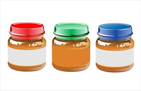 퓌레: 흰색 배경에 아기 음식의 세 항아리 일러스트
