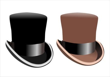 dressy: Sombrero de copa negro sobre fondo blanco