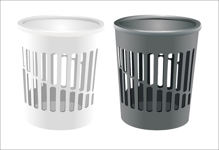 wastepaper basket: bin set isolated on white Illustration