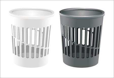wastepaper: bin set isolated on white Illustration