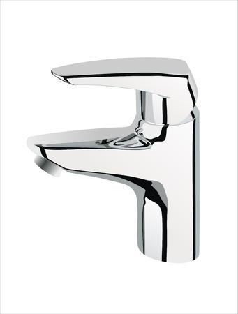 watery: argento metallizzato rubinetto dell'acqua su sfondo bianco, Vettoriali