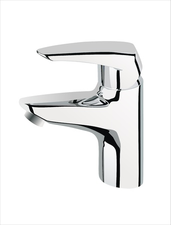 watery: silver metallic water tap on white background,