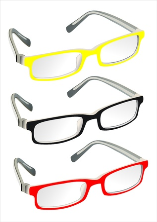 opthalmology: Glasses with reflection on white background Illustration