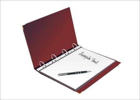 terminplaner: �ffnen pers�nlicher Organizer, mit Stift, auf wei�em Hintergrund