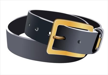 men s leather belt isolated on white