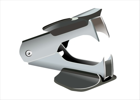 A black staple remover against a white background Illustration