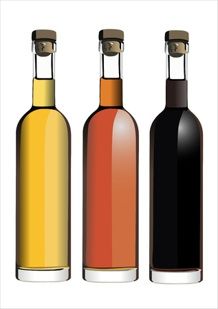 white riesling grape: Set of white, rose, and red wine bottles. isolated on white background Illustration