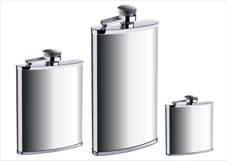 hip flask: Stainless hip flask isolated on white