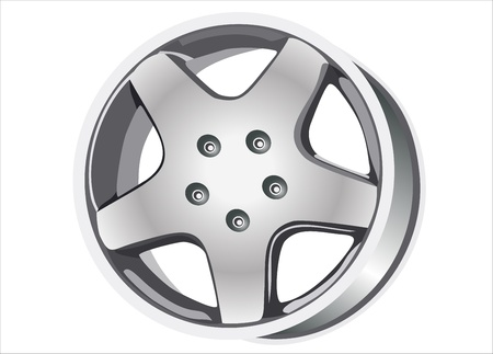Car tire with rim on a white background Illustration