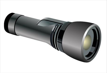 black flashlight isolated on white background Vector