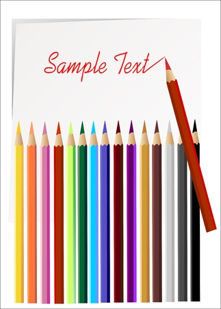 Color pencils set on white background  Stock Vector - 14296729