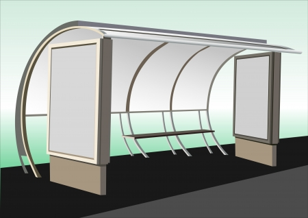Bus stop with blank banners Vector