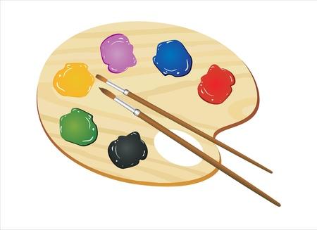 Houten kunst palet met verf en penselen