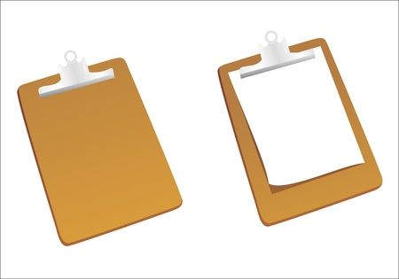 clipboard isolated: Clipboard with a sheet of paper isolated on white background