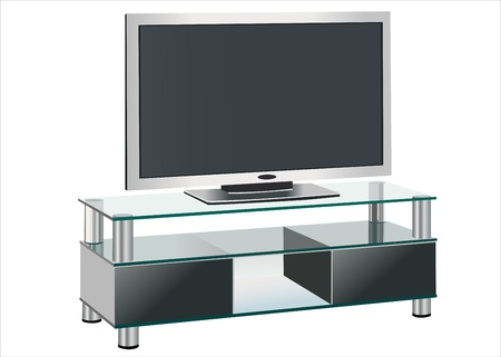 clean off: Black TV stands on a glass shelf